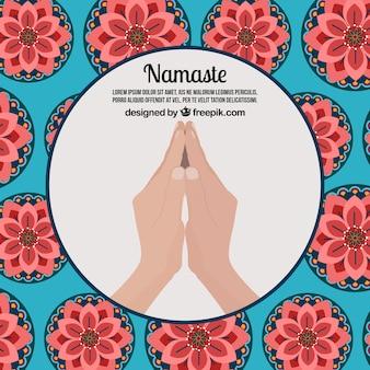 Namaste saluant l'arrière-plan avec des fleurs dans un design plat