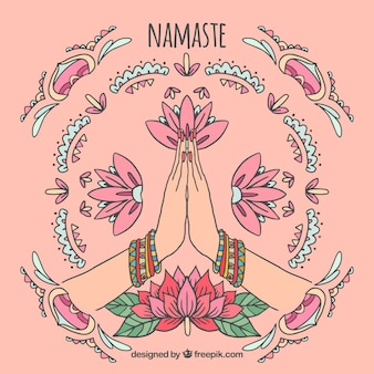 Namaste saluant l'arrière-plan avec des ornements