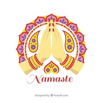 Namaste salutation fond décoratif