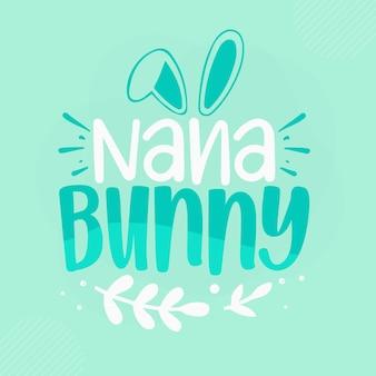 Nana bunny lettrage bunny premium vector design
