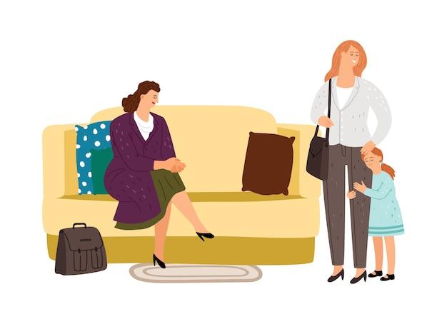 Nanny mère et enfant. nounou de personnage de dessin animé assis avec une fille