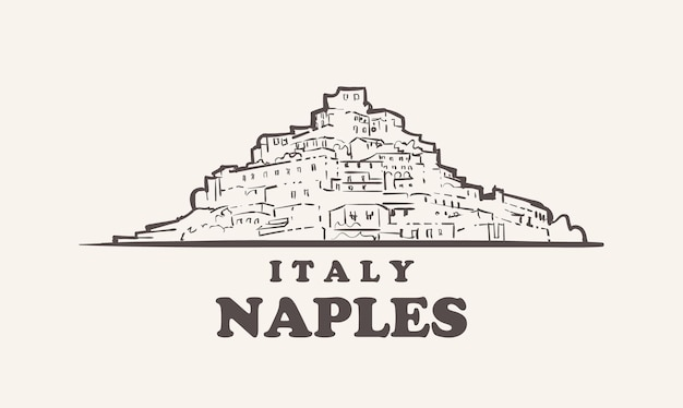 Naples cityscape croquis illustration de l'italie dessinée à la main