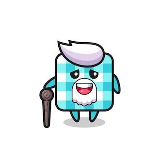 Nappe à carreaux mignon grand-père tient un bâton, design de style mignon pour t-shirt, autocollant, élément de logo