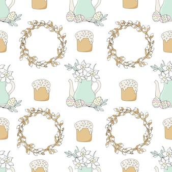 Narcissus seamless pattern de vacances de pâques