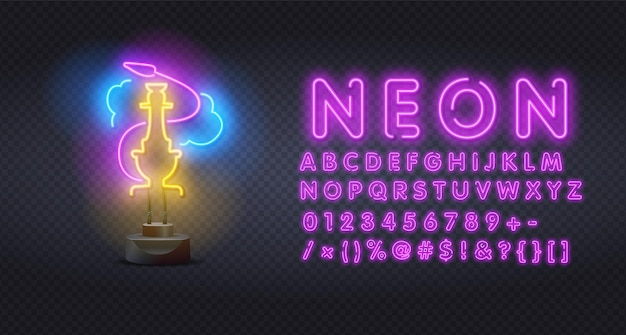 Narguilé bar en néon avec alphabet
