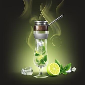 Narguilé cocktail verre ouragan de vecteur avec vue de face de citron vert, menthe et fumée isolée sur fond sombre