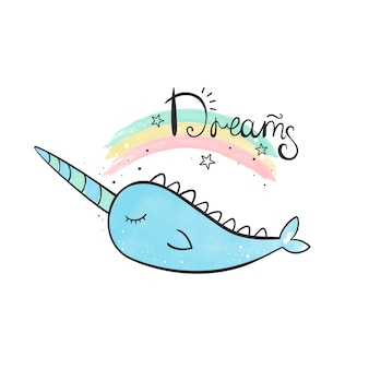 Narwhal magique illustration aquarelle