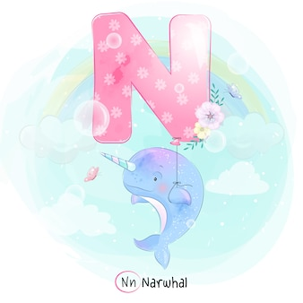 Narwhal mignon volant avec ballon alphabet-n
