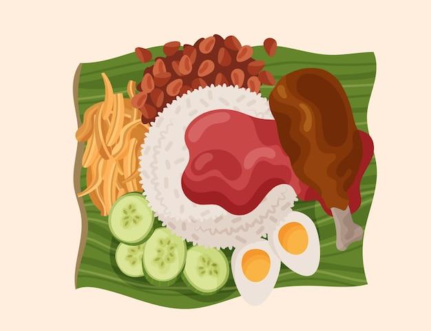 Nasi lemak détaillé illustré