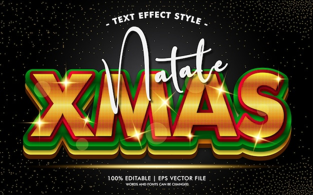Natale xmas glamour gold effets de texte style