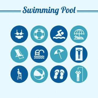 Natation piscine ronde symboles plats