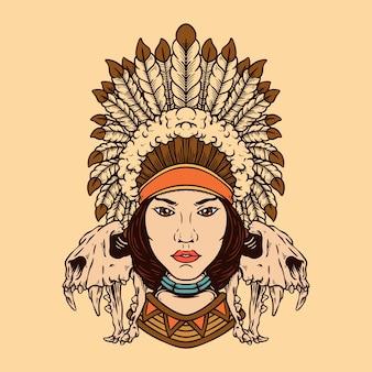 Native indian woman avec des crânes d'animaux