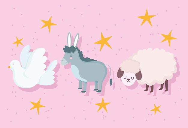 Nativité, crèche animaux âne agneau et caricature de colombe