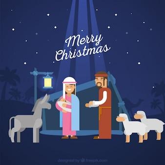 Nativité fond de scène avec des animaux