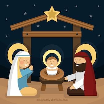 Nativité fond de scène dans la conception plate