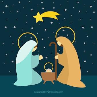 Nativité fond de scène avec la shooting star