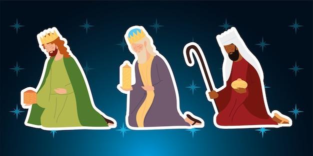 Nativité, personnages de rois sages mangeoires sur gradient