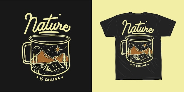La nature appelle la conception de t-shirt aventure