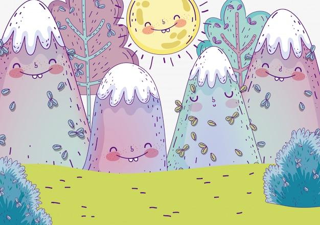 Nature arbres avec montagnes enneigées et soleil