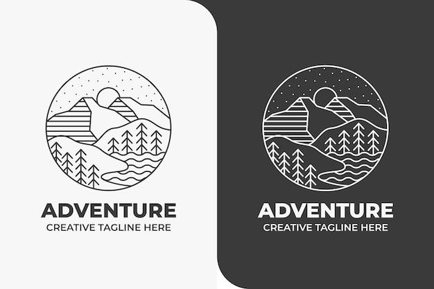 Nature aventure montagne colline monoline logo