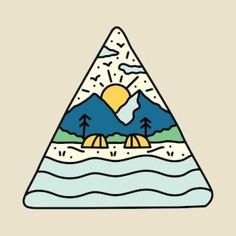 Nature de beauté avec la conception de t-shirt d'art de vecteur d'illustration graphique de rivière