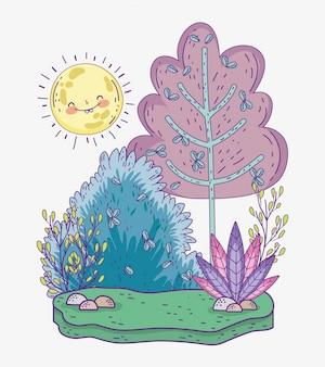 Nature des buissons avec des plantes, des feuilles et du soleil