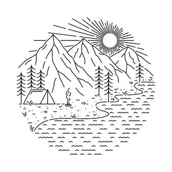 Nature camping lake mountain line illustration