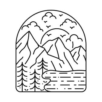 Nature camping randonnée aventure ligne illustration