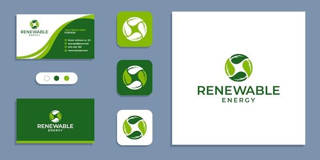 Nature, cercle de feuilles, logo d'énergie renouvelable et modèle d'inspiration de conception de carte de visite