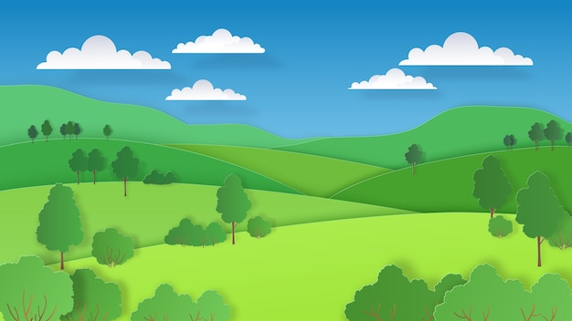 Nature collines vertes champs montagnes et forêt