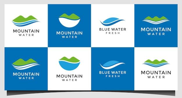 Nature et eau, vecteur de conception de logo d'eau douce
