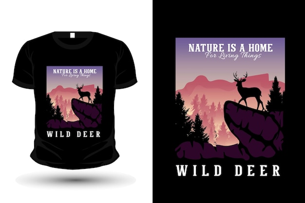La nature est une maison pour les êtres vivants illustration silhouette design t-shirt plat