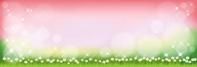 Nature d'été de vecteur avec des fleurs de marguerite minuscules mignons et des champs d'herbe verte.