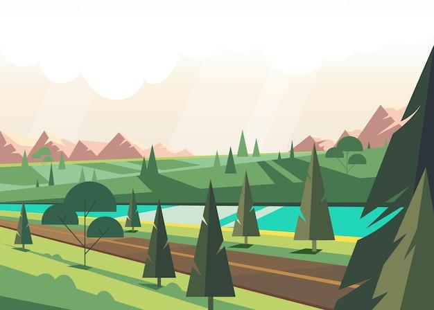 Nature d'été verte avec pin et illustration de la rivière bleue
