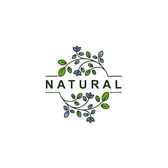 Nature feuille ligne art logo icône symbole illustration vectorielle