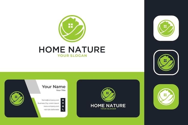 Nature à la maison avec création de logo maison et feuille et carte de visite