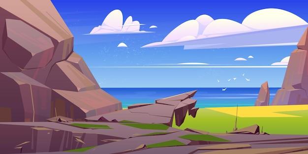 Nature de mer de paysage rocheux d'océan avec des roches