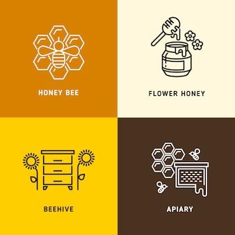 Nature miel, logos vectoriels abeilles en nid d'abeille