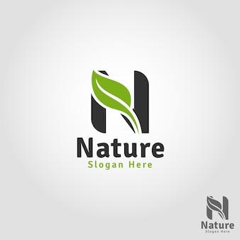 Nature - modèle de logo lettre n