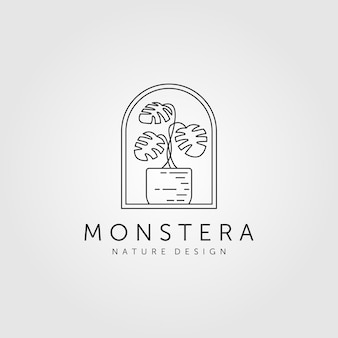 Nature monstera plante ligne art minimaliste logo symbole illustration