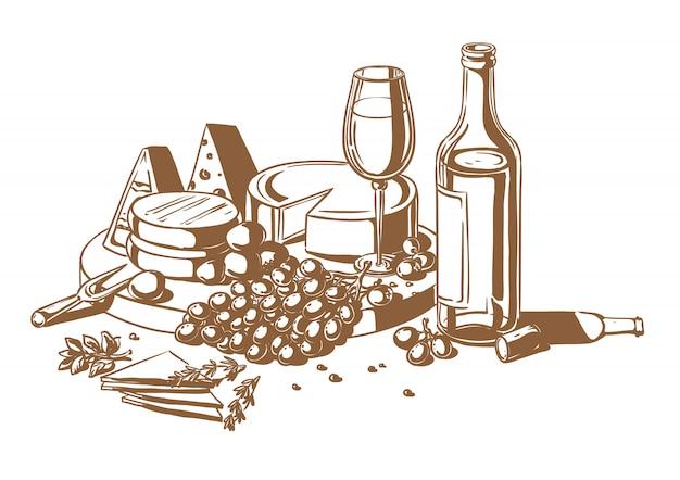 Nature morte d'un ensemble de fromages avec des raisins et du vin