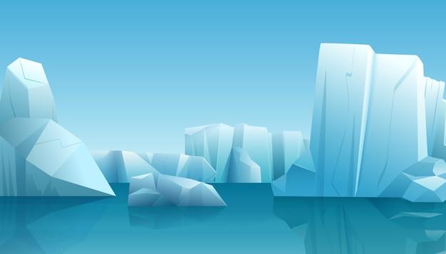 Nature paysage arctique d'hiver avec iceberg, eau pure bleue et collines de neige