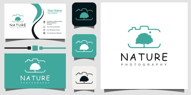 Nature photographie logo design vecteur modèle carte de visite fond