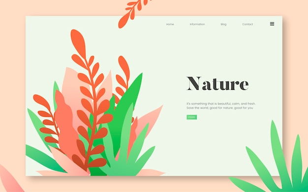 Nature et plantes graphique site internet informatif