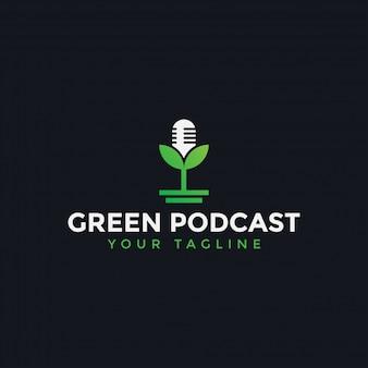 Nature podcast avec modèle de conception de logo de feuille