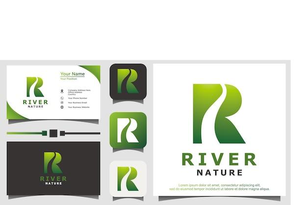 Nature de la rivière avec le vecteur de conception de logo r initial