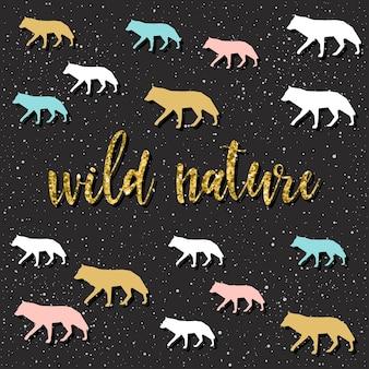 La nature sauvage. lettrage manuscrit sur noir. doodle citation faite à la main et loup dessiné à la main pour un t-shirt de conception, une carte de vacances, une invitation, des brochures, un album, un album, etc. texture dorée