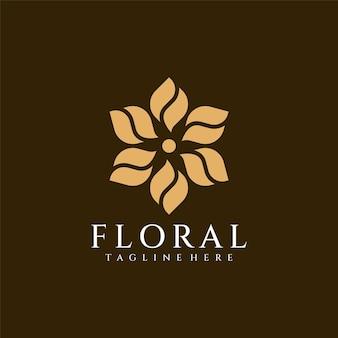 Nature de spa de conception de logo de fleur de luxe de beauté décorative florale