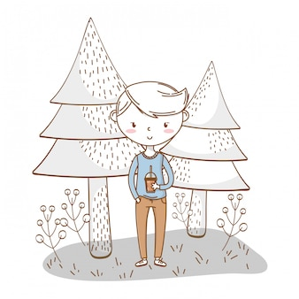 Nature tenue de dessin animé garçon élégant