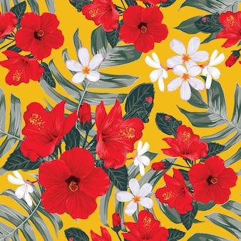 Nature tropicale modèle sans couture avec main dessiner des fleurs d'hibiscus florales